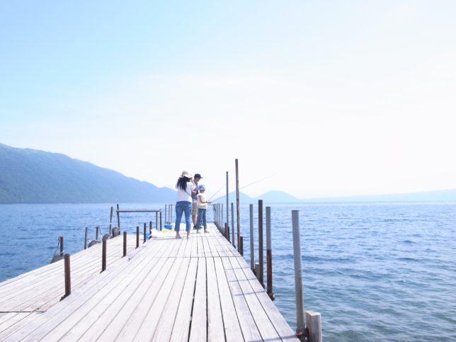 支笏湖の釣り客